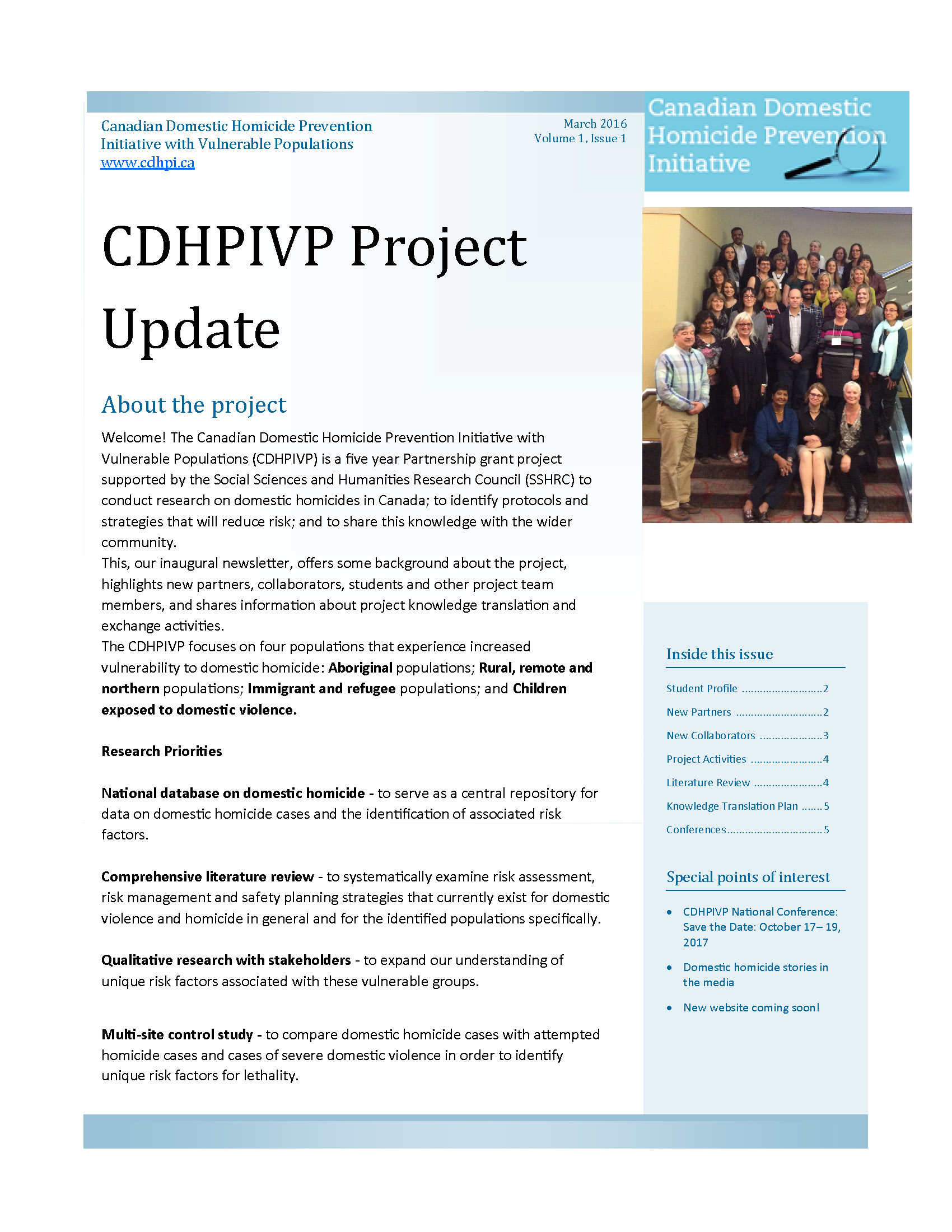 CDHPIVP Project Update: Volume 1, Newsletter 1 cover page