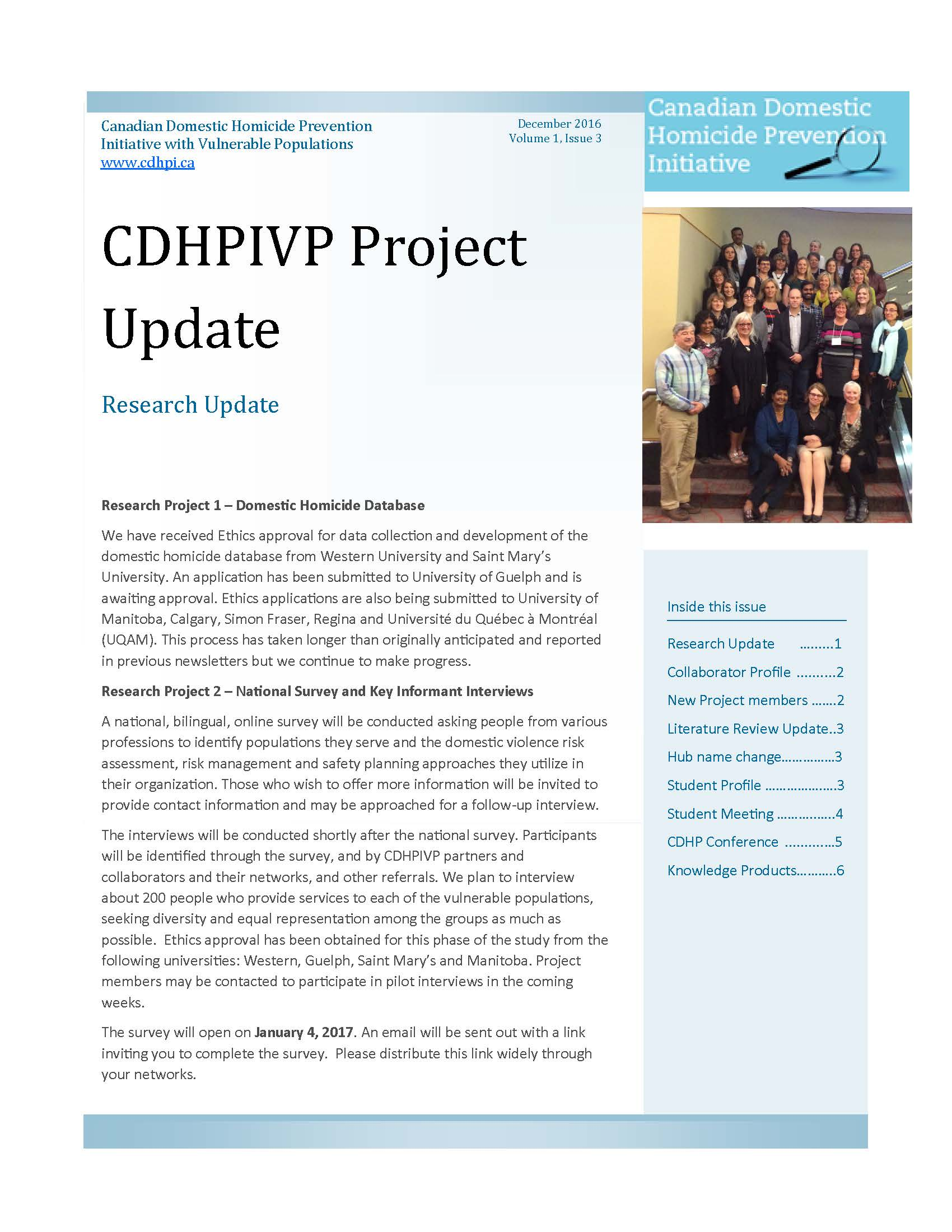 CDHPIVP Project Update: Volume 1, Newsletter 3 cover page