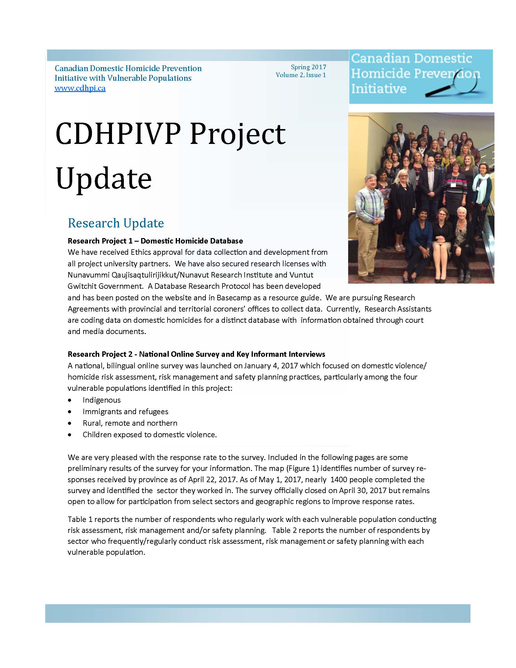 CDHPIVP Project Update: Volume 2, Newsletter 1 cover page