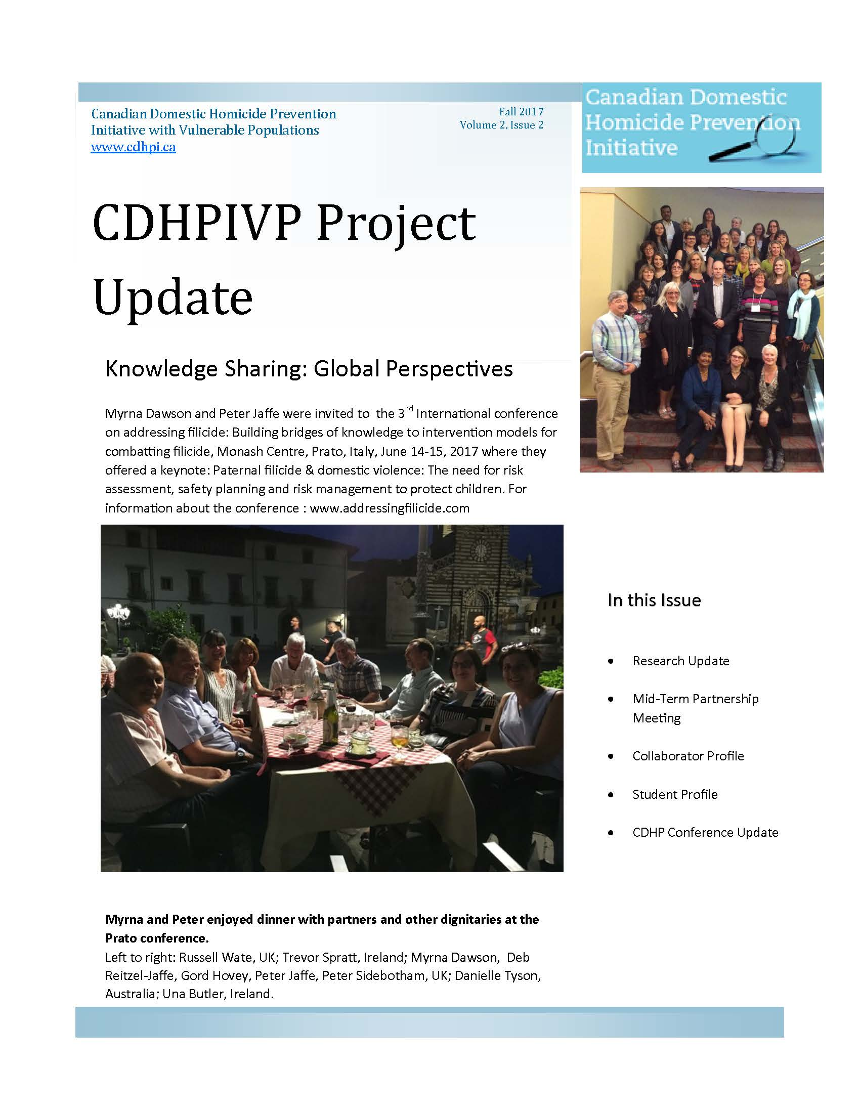 CDHPIVP Project Update: Volume 2, Newsletter 2 cover page