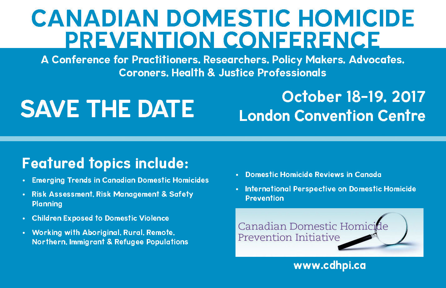 Canadian Domestic Homicide Prevention Conference Save the Date