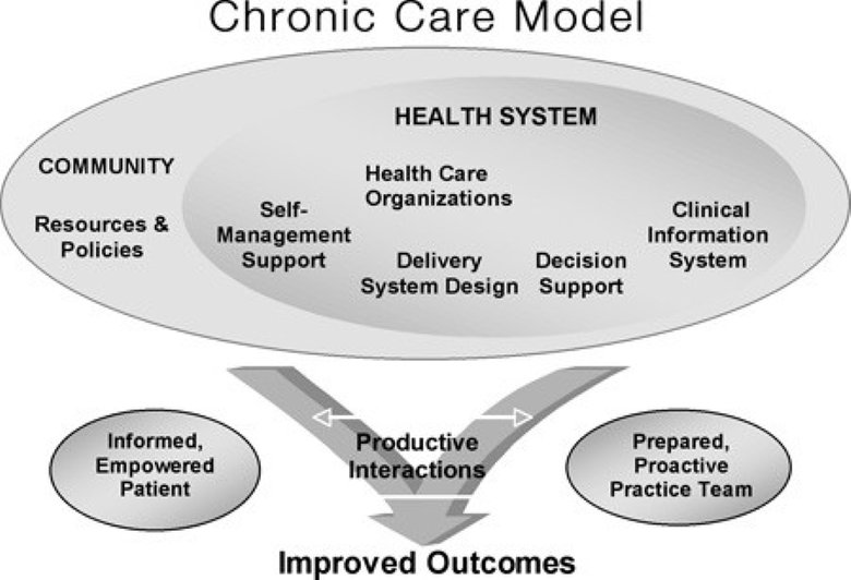 In March 2007, the federal government used this diagram to illustrate how chronic care works, in its report Chronic Disease Prevention and Management. (Wagner E.H., Chronic Disease Management: What Will It Take to Improve Care for Chronic Illness?)